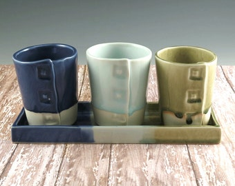 Pottery Planter - Set of 3 Pots Plus Tray for Windowsill or Desk - Succulents - Violets - 684