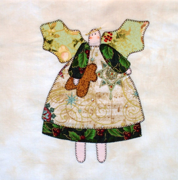 Primitive Angel Appliqued Quilt Block