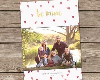 Photo Valentine's Day Card : Be Mine Custom Photo Holiday Card Printable