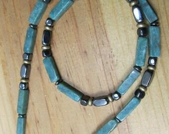 Arfican Jade, Hematite, Brass Necklace, Native American Necklace, Mens Ethnic Necklace, Mens Beaded  Necklace,Mens Hematite Necklace