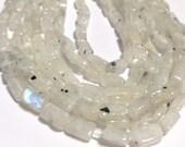 Rainbow moonstone tiny rectangle beads full 14in strand
