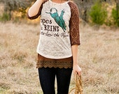 Ropes and Reins burnout raglan with brown lace sleeves