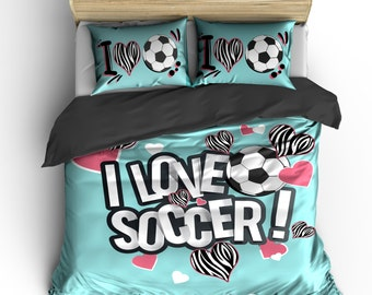 I Heart Zebra Soccer Bedding, Lt Aqua or any color,  Personalized with your Name -Toddler, Twin, F-Queen or King Size