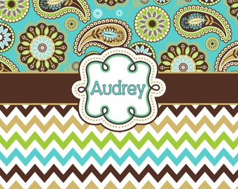 Personalized  Designer Gypsy Paisley  & Chevron Shower Curtain Brown, turquoise, yellow and lime - Personalized Your Initial(s) and/or names