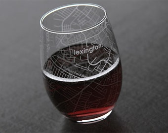 Lexington, KY - University of Kentucky - College Town Map Stemless Wine Glass