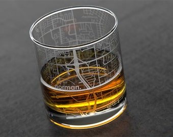 Norman - University of Oklahoma - College Town Map Rocks Glass