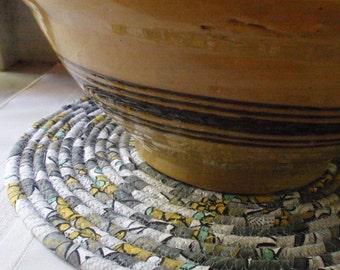 Mid-Century Modern Coiled Fabric Hot Pad, Trivet, Table Mat - Shades of Gray, Mustard Gold, Light Turquoise - LARGE ROUND - Handmade by Me