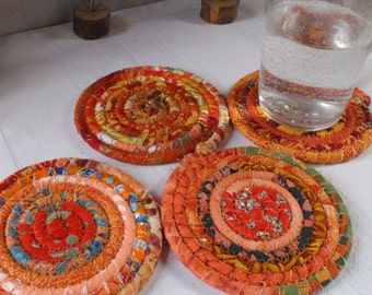 Orange Bohemian Coiled Coasters - Set of 4 - Handmade by Me, Absorbent Coasters for Your Table