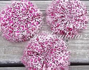 Chiffon Twirl Flowers- Pink Cheetah 3 inch - Fabric Flowers, Flowers for Hair, Flowers for Headband, DIY Hairbow Supplies- Ballerina Flowers