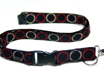 Detachable Fabric Lanyard  ID Badge Lanyard & Release Key Lanyard Black Red  Breakaway Lanyard Women's Fashion Neck Lanyard