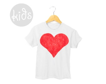 Red Heart Tee - Crew Neck Short Sleeve Cotton Graphic Tshirt in White and Red - Baby Kids & Youth