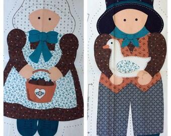 Vintage Fabric Craft Sewing Panel, Stuffed Pillow Dolls