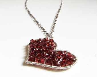 Red heart necklace Silver necklace Garnet pendant necklace January birthstone Recycled Red garnet necklace Garnet heart pendant Womens gift