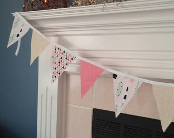 Coral and White Bunting