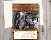 Digital Wooden New Home, New Address Winter Christmas Rustic Holiday Card Personalized Printable Photo