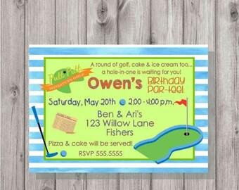 ON SALE Digital Miniature Mini Golf or Putt Putt Birthday Boy Party Invitation Printable