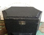 Antique Mens Collar Box Faux Black Leather with jewelry Drawer Silk Pink Lining