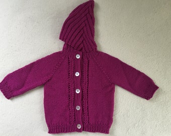 Hand Knit Cardigan Baby Sweater With Hood 12 to 18 Months Wool Raspberry Free US Shipping