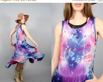 Vintage India Gauze 70s Tie Dye Space Galaxy Boho Hippie Dress (XS - M)