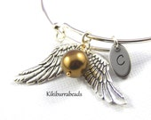 Harry Potter Golden Snitch Expandable Bangle Bracelet Personalized Initial Bracelet