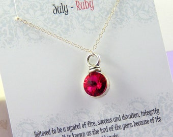 July Birthstone Necklace, Personalized Swarovski crystal Rivoli necklace, Ruby, birthstone jewelry, gift boxed necklace