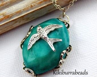 Gemstone Necklace, Semi Precious Gemstone Necklace, Bird Necklace, Silver Necklace