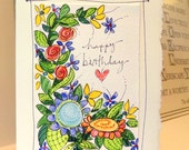 "Flower Message Happy Birthday Watercolor Original Card ""Big Card"" 5x7 With Matching Envelope Blank On The Inside  betrueoriginals"