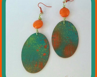 Paper earrings - orange and green