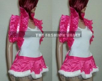 Sample School girl  pink santa mini skirt and shoulder collar bolero wrap Cosplay Christma Showgirl