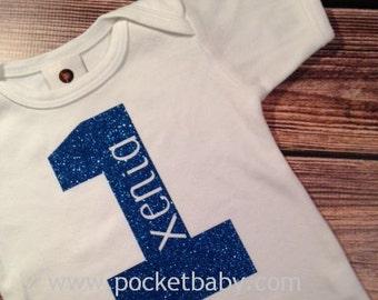 Personalized First Birthday Shirt - First Birthday Glitter Shirt - Birthday Number Shirt