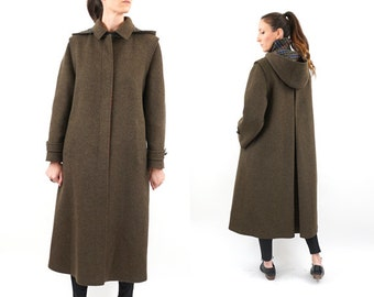 vintage OLIVE green MINIMALIST wool LONG trench M
