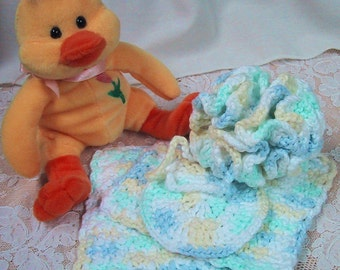 CLEARANCE PRICED - Baby Bath 4 pc Set - Bath Puff, 2 Square Cloths, Round Cloth - Baby Shower Gift - Crocheted in SuperSoft Cotton Yarn