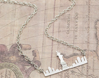 Birthday gift for her New York Skyline silver gold necklace  girlfriend woman her mum traveller proposal ideas pendant jewelry birthday