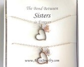 Matching Heart Necklaces with Freshwater Pearls. Sisters Heart Necklaces.