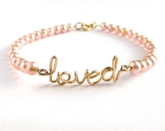 Love Pearl Bracelet. Pink Pearl Gold Loved Bracelet. Loved Bracelet