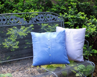 Upcycled Pillow Cover Blue Stripe Pillow 18 inch pillow cover recycled mens shirt home decor preppy decor Quiltsy Handmade