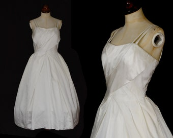 Original Vintage 1950s Ivory White Satin Wedding Prom Dress - Small - FREE SHIPPING WORLDWIDE