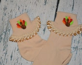 Embroidered Turkey Socks Thanksgiving Sock Size 5-6.5 READY To SHIP