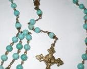 Turquoise Blue Magnesite Stone and Bronze Rosary Prayer Beads