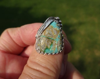 Western Sterling Silver Arizona Turquoise Ring - Size 8 - FREE RESIZING - Leaf Themed