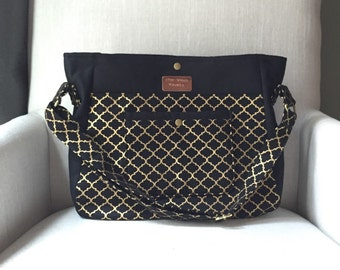 Gold and Black Large Diaper Bag - Stroller Bag - Bags & Purses - Baby bag