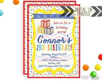 ABC Blocks Birthday Invitation | Digital or Printed |  ABC Party | ABC Invite |  Blocks Invite | Abc Blocks Invitation |  Blocks Invitation