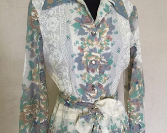 Vintage Long Sleeve Boho Dress - Vintage Floral Prairie Dress - Printed Fabric Maxi Dress - 1970's Dress - 38 Bust