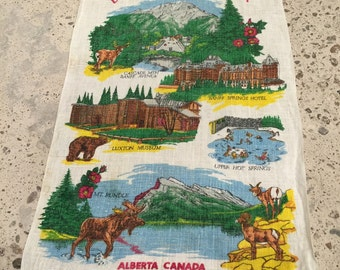 Banff National Park - Vintage Souvenir Travel Tourist Towel - Linen Cloth - Cascade Mountain - Banff Springs Hotel - Alberta Canada