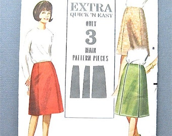 Vintage Sewing 1960s a-line skirt pattern without waistline by Butterick 3509   Waist 26 inches