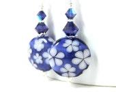 Purple & White Floral Dangle Earrings, Lampwork Glass Earrings, Chintz Earrings, Botanical Jewelry, Nature Earrings, Flower Earrings,