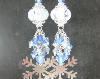 Silver Snowflake Dangle Earrings, Blue White Crystal & Glass Earrings, Holiday Earrings, Winter Boro Lampwork Earrings, Christmas Jewelry