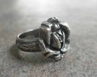 Silver Rose Ring Spring Flower Jewelry
