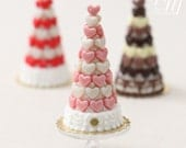 MTO - Pink and White Hearts Pièce Montée (Valentine's Celebration Cake) - Miniature Food in 12th Scale for Dollhouse