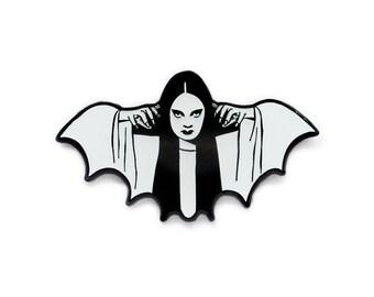 Halloween Mark of the Vampire Luna black and white enamel lapel pin